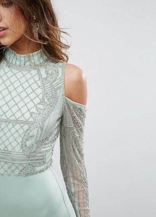 Asos роскошное мятное декорированное сексуальное платье бисер