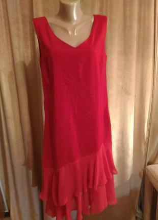 Вечернее красное платье размер 12/ l