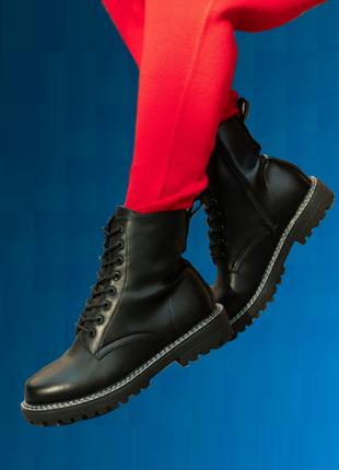 Женские черные ботинки весна осень экокожа