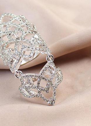 Длинное кольцо на весь палец модное с камнями бижутерия лонгринг серебристое