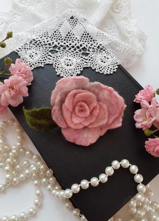 🥀 роза брошь сухое валяние из шерсти из войлока в коробке ручная авторская работа эксклюзив