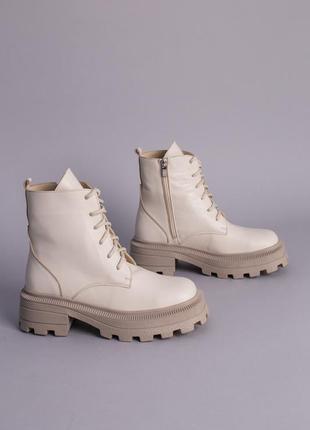 Женские кожаные ботинки молочные