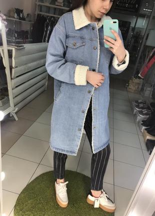 Джинсовое пальто утеплённое