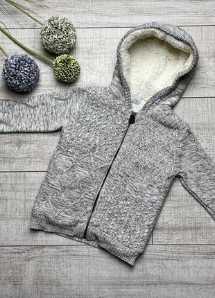 Тёплый свитер tu 2-3 92-98 теплая кофта на замке реглан серый