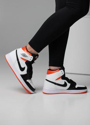 Женские стильные осенние кроссовки nike air jordan 1 retro high electro orange