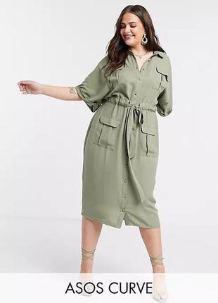 Платье рубашка  хаки р. 56