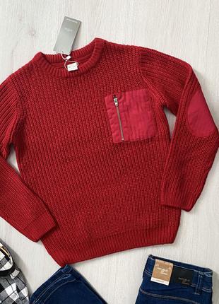 Красный стильный вязаный свитер джемпер кофта для мальчика piazza italia италия