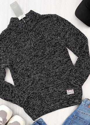 Теплый подростковый вязаный свитер джемпер кофта для мальчика piazza italia италия