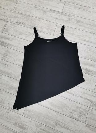 Короткий черный сарафан с ассиметричным низом, батал