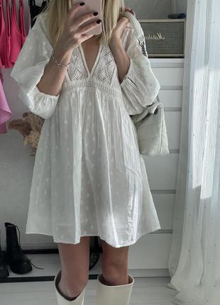 Батистовое белое мини платье zara, размер xs