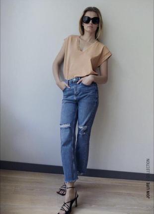 Джинсы zara джинси зара размер 40 l синие укороченные прямые с необработанным краем с разрезами