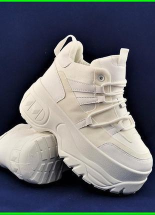 Снова в наличии ✨ женские белые кроссовки на танкетке/ платформе/ качество