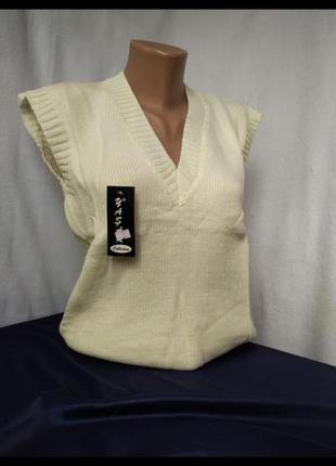 Женская теплая безрукавка молочная жилетка шерстяной пуловер
