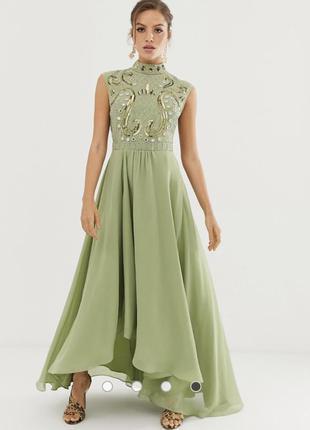 Платье макси с декоративной отделкой asos design