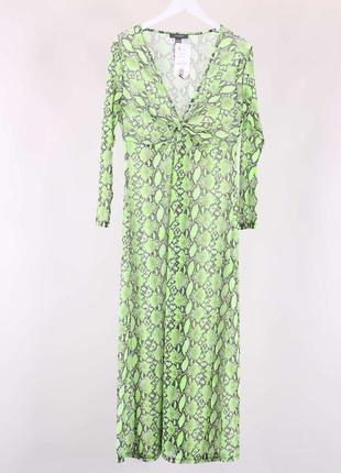 Пляжное платье миди макси в змеиный принт ярко салатовое с имитацией запаха