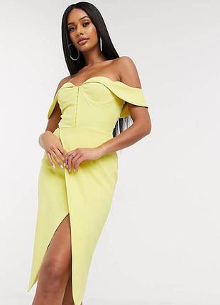 Желтое платье миди с открытыми плечами с разрезом лимонное по фигуре платье-футляр