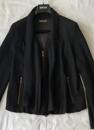 Жакет-куртка, блузон с трикотажными рукавами . шерсть