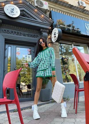 Костюм шорты и свитшот свитер гусиная лапка зелёный вязаный