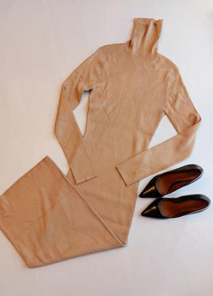 Платье водолазка рубчик длинное