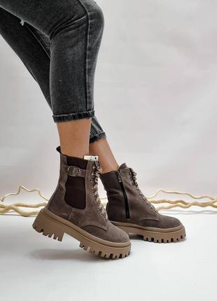 36-41 рр высокие ботинки на платформе натуральная замша/кожа