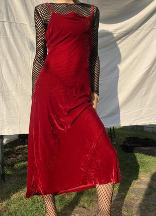 Вишукана червона оксамитова сукня від next petite