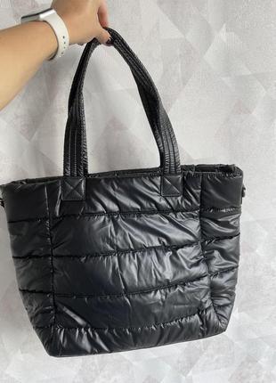 Дутая сумка сумочка шоппер стёганная в стиле zara