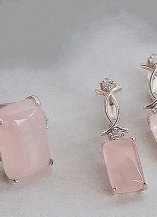 Новое серебряное кольцо, серебряные серьги, украинское серебро 925 пробы, розовый кварц