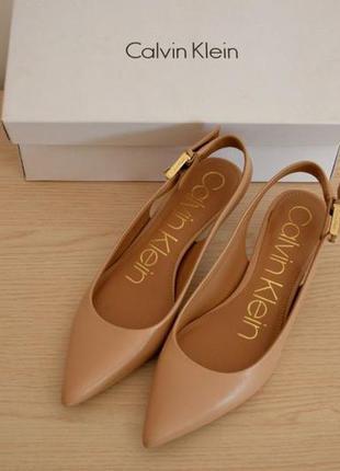 Calvin klein кожаные туфли босоножки 34 размер, лодочки нюдовые