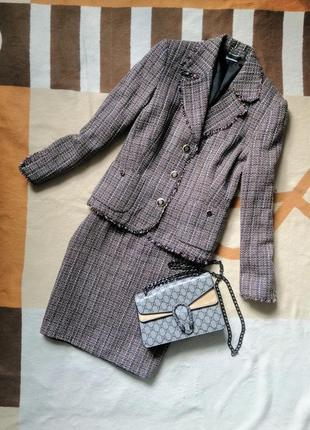 Костюм с юбкой карандаш миди, твидовый костюм, костюм в стиле chanel шанель