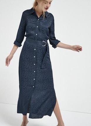 Платье рубашка в леопардовый принт макси миди под пояс длинный рукав новое