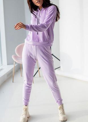 Мягкий велюровый костюм (худи + штаны) лавандового цвета