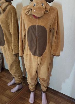 Теплая пижама кенгуруми из флиса олень