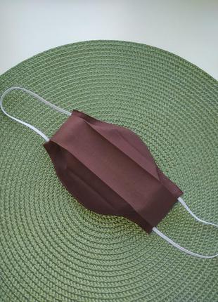 Коричневая маска однотонная шоколадная осенняя многоразовая