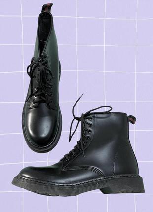 Черные классические высокие ботинки (берцы) из эко кожи (стиль dr martens), унисекс