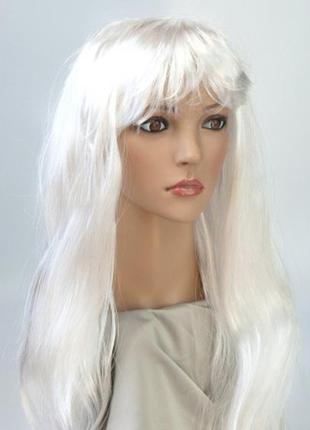 Карнавальный парик белого цвета прямые длинные волосы+подарок
