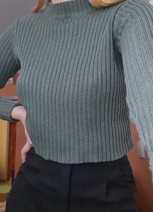 Новый трендовый короткий свитер - лапша 💚 xs pull&bear