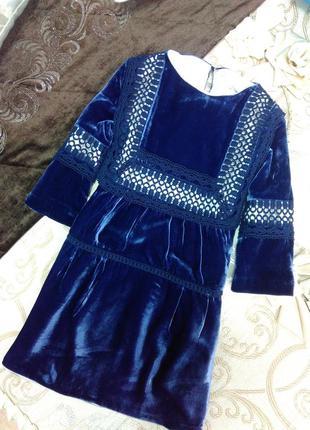 Велюровое платье ультрамаринового цвета, испания