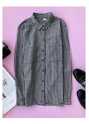 Сорочка h&m, сорочка в клітинку, чорно-біла сорочка, чорно-белая рубашка в клетку, прямая рубашка