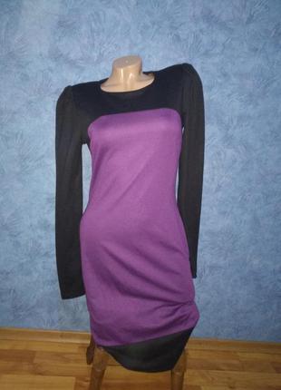 Красивое строгое комбинированное теплое платье миди по фигуре