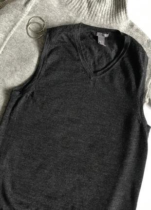 Темно-серая шерстяная жилетка / безрукавка h&m