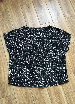 Черная объемная шифоновая в горошек блуза, большой размер идеальное состояние новой вещи