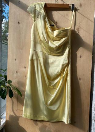 Платье лимонное вечернее, на одно плечо