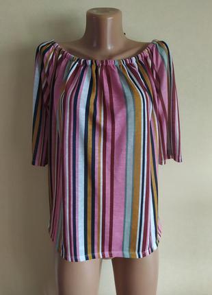 Блуза блузка кофта футболка разлетайка розовая разноцветная в полоску красивая яркая