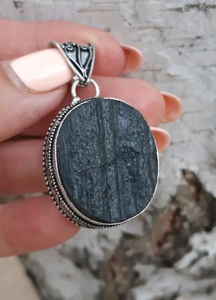 Кулон с шерлом черный турмалин