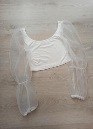 Топ з прозорими рукавами, кофта, блуза,блузка