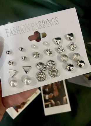 Набор сережек из 12 пар минимализм серебро