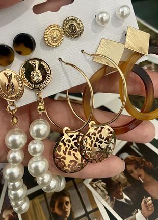 Серьги жемчуг монеты набор 6 пар