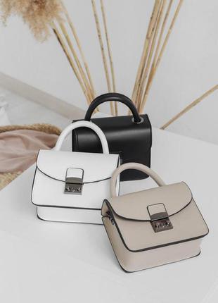 Новая коллекция! клатч на цепочке сумочка беж черная белая