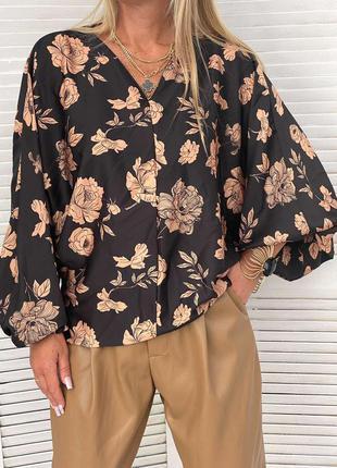 Шикарная блуза принт италия оверсайз люкс качество