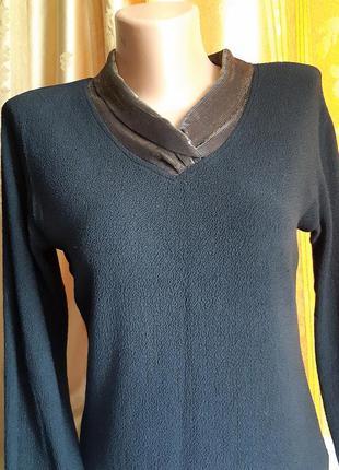 Черная блуза с золотым воротником  - шалькой /design of california. сша. винтаж